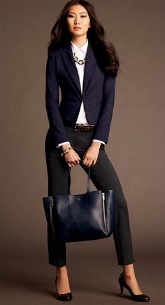 the classic lines of this jacket, but nice collar and closure - Ann Taylor