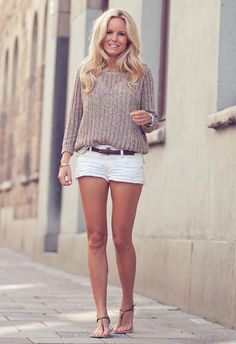 Shop this look on Kaleidoscope (sweater, shorts, sandals)  http://kalei.do/WE4vKaYtldmRB7te