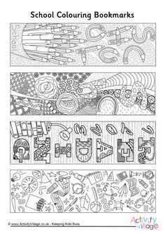 We've got four lovely, detailed, doodly school bookmarks for the kids to colour in - perfect for getting in the mood for back to school, or perhaps as an activity for those who finish early? Free Printable Bookmarks, Bookmark Template, Bookmark Craft, Bookmarks Kids, Doodle Coloring, Coloring For Kids, School Doodle, Book Markers, School Colors