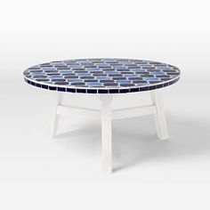 Mosaic Tiled Coffee Table - Decorator Print Top + White Base
