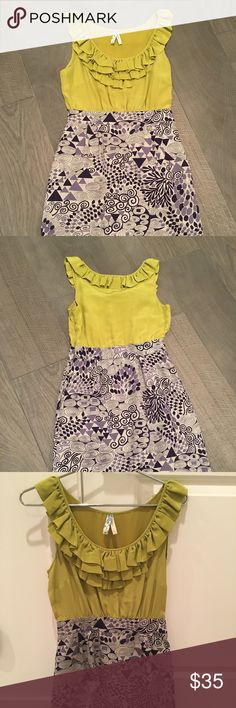 Anthropologie Dress by Maeve Anthropologie Maeve Dress. A unique and whimsical piece. Looks like a two piece with a mustard green-yellow top with a grey and navy blue patterned skirt. Mauve Dresses Midi