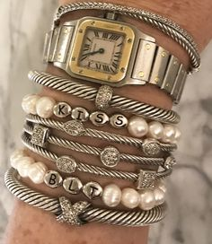Diamonds and pearls in a row. I love my new custom pearl bracelets from Sugar Mama, they look great with my David Yurman stacked bracelets. Ankle Bracelets, Silver Bracelets, Diamond Bracelets, Silver Ring, Silver Earrings, 925 Silver, Silver Jewelry, Stacking Bracelets, Sterling Silver