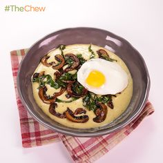 Corn Pudding with Collards & Mushrooms by Michael Symon! Prepare an absolutely amazing soft polenta with fresh corn topped with collards, mushrooms, and a fried egg! #TheChew