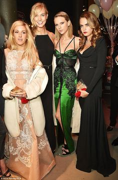 (L-R) Ellie Goulding, Karlie Kloss, Taylor Swift and Cara Delevingne at ELLE Woman of the Year Awards