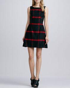 GIGI-scotch girl dress Jolie Leather-Panel Plaid Dress by Alice + Olivia at Neiman Marcus.