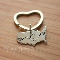 United States Keychain Long Distance Love door TagYoureItJewelry
