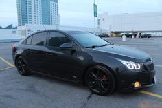 Blacked out Chevy Cruze Chevrolet Cruze, Chevy Cruze Custom, 1957 Chevrolet, 2016 Chevy Cruze, 2014 Chevy, Chevy Cruze Accessories, Cadillac, Lux Cars, Car Goals