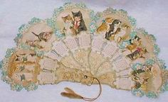 Helena Maguire cats. Hand Held Fan, Hand Fan, Vintage Calendar, Paper Fans, Boards, Victorian, Printables, Antiques, Cats