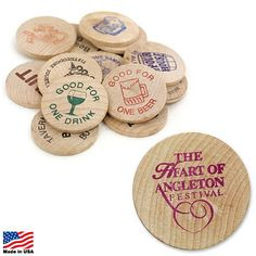 Promotional Wooden Nickel Token Item (Min Order: Customize your Tokens with your company logo and with no setup fees. The Promotional Wooden Nickel Token is decorated. Promotional Tokens are customized with your company logo for your branding needs. Cheap Promotional Items, Restaurant Bar And Grill, Beer Store, Trade Show Giveaways, Event Planning Business, Natural Wood Finish, Stock Art, Foil Stamping, Prints