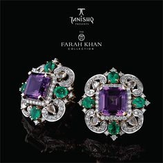 Farah Khan for Tanishq Amethyst stud earrings surrounded with Emeralds and Diamonds set in Yellow Gold. #GoldJewelleryTanishq