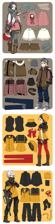 New clothes anime design reference illustrations ideas