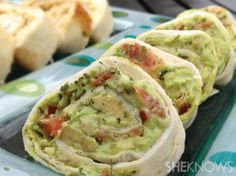 Creamy avocado and bacon tortilla roll-ups recipe Serves 8 Ingredients:  4 medium ripe avocados, seeded and removed from their skin 6 ounces...