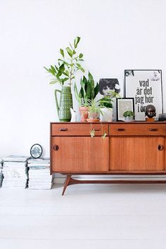 sideboard. plants.