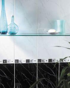Carrara Black tiles by House of British Ceramic Tile White Wall Tiles, White Bathroom Tiles, Black Tiles, Kitchen Tiles, Marble Tiles, Carrara, Bathroom Medicine Cabinet, Tile Floor, Black And White