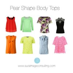 WHAT TO LOOK FOR IN YOUR TOPS: High neck Crew neck Ruffled necklines Collard tops Mandarin collars Puffed shoulders Puffed sleeves Any creative details Less fitted at the waist Look for tops with a print and/or in light or vibrant colors Pear Shaped Dresses, Pear Shaped Outfits, Fashion Mode, Fashion Outfits, Fashion Tips, Style Fashion, Pear Shape Fashion, Pear Shaped Women, Triangle Body Shape