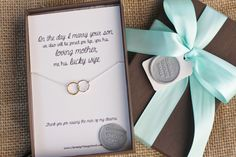 Future Mother-in-Law, Gift Boxed Pendant, Mother of the groom, Mother in law, wedding, gift, linked rings by TheCharmedBelle on Etsy https://www.etsy.com/listing/171591574/future-mother-in-law-gift-boxed-pendant