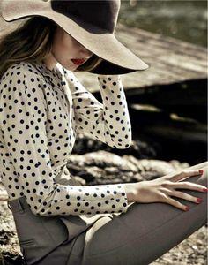 Polka dot blouse, always classy