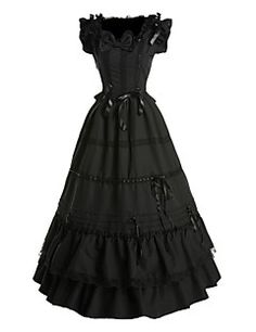One-Piece/Dress+Gothic+Lolita+Vintage+Inspired+Cosplay+Lolita+Dress+Black+Vintage+Sleeveless+Floor-length+Dress+For+Women+Cotton+–+USD+$+99.99