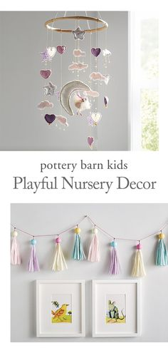 Add a touch of whimsy to their nursery with a Pom-Pom Mobile, Tassel Garland and fairy tale-inspired Wall Art. No matter what your theme or style, Pottery Barn Kids is home to the décor that can bring your vision for baby to life.