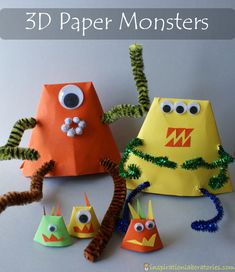 3D Paper Monsters, make an origami cup and flip upside down, poke arm holes and use one pipe cleaner to go across for arms, same for legs, make mini monsters with smaller cups.