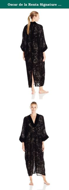 Oscar de la Renta Signature Women's Velvet Devore Caftan, Black, Small/Medium. Exquisitely crafted caftan in burnout velvet Devore.