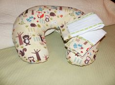 Boppy cover and burp cloth set with cute woodland animal fabric.  Listing at https://www.etsy.com/listing/225775383/woodland-scene-nursing-pillow-cover-and