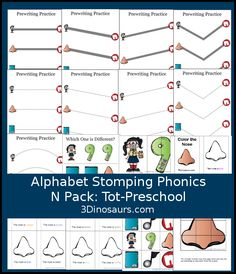 Free Alphabet Stomping N Tot-Preschool Pack - 20 pages of activities - 3Dinosaurs.com