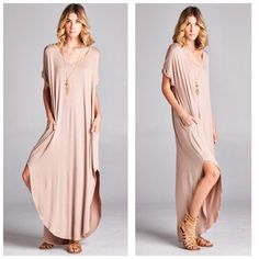 Boho Mocha Oversize Slit Pocket Maxi Dress S M L Available in 9 colors now!!  Black, Mint, Ivory, Mocha, Black/White Stripe, and Gray/White Stripe, Olive, Brown, and Navy!! So beautiful!  Mocha side slit maxi dress, pockets, very loose oversize fit, can fit up to a size 16, consider sizing down if you don't prefer an oversized loose fit.  Available in size Small,  Medium, or Large. No Trades, Price Firm unless Bundled.  BUNDLE 3 OR MORE ITEMS FOR 15 % OFF. Boutique Dresses Maxi