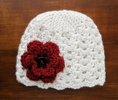 Sale - Baby Girl Hat, Newborn Photography Prop, Crochet Baby Hat, Christmas Baby Hat, Cream Ecru Beanie, Red Flower, Fall Baby Hat, Winter