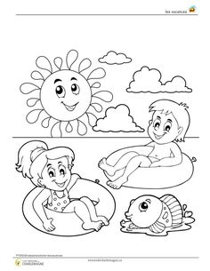 Summer Coloring Pages, Free Adult Coloring Pages, Colouring Pages, Coloring Pages For Kids, Coloring Books, Art Drawings For Kids, Drawing For Kids, Art For Kids, Summer Colors