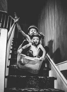 My sister and I did this with a Baby doll stroller, Well actually she put me in it and pushed me straight down the cellar stairs. What a bumpy ride!. Hi Onia!