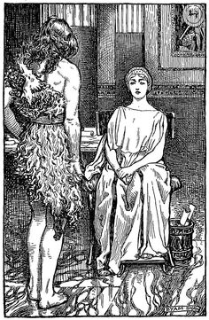 Hypatia and Philammon. Illustration by Byam Shaw from 'Hypatia' (1915)