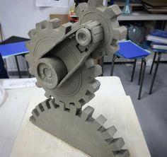 Stone Sculpture, Sculpture Clay, Sculptures, Mechanical Power, Old Games, Cogs, Best Artist, Teaching Art, Clay Art