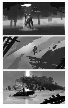 … Concept Art Tutorial, Digital Art Tutorial, Digital Painting Tutorials, Landscape Concept, Landscape Art, Landscape Sketch, Storyboard, Environment Sketch, Composition Design
