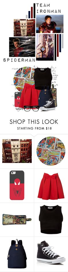 """""""Spiderman - Team IronMan - Marvel"""" by rubytyra ❤ liked on Polyvore featuring Casetify, Marvel, Julien David, Tommy Hilfiger, Converse and ZeroUV"""