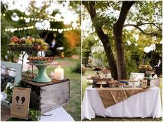 Un buffet de dessert pour le mariage, décoration nature