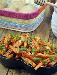 This Honey Chilli potatoes is a great starter to serve for parties, It is a combination of sweet and spice making it ideal for kids as well as adults to enjoy it.