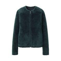 WOMEN Fluffy Fleece Long Sleeve Collarless Jacket £24.90