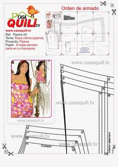 Quili Pijama 2 - Mary N - Picasa-Webalben Sewing Lessons, Sewing Hacks, Lingerie Patterns, Sewing Patterns Free, Baby Dolls, Underwear, Textiles, Shorts, Bikinis