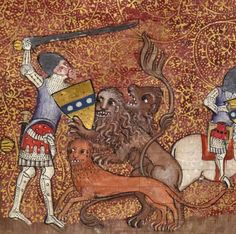 Sir Lancelot fighting the lions Lancelot du Lac, Hainaut 1344 BnF, Français 122, fol. 1r