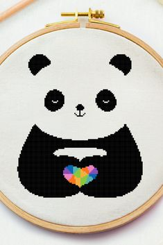 Excited to share this item from my #etsy shop: Panda with heart cross stitch pattern, Baby x stitch pdf instant file Animal Modern cross stitch Polygon Baby Room needlepoint nursery cross #crossstitchpattern #easycrossstitchpattern #moderncrossstitchpattern #crossstitchpatternforbeginner #simplecrossstitchpattern #freecrossstitchpattern #modernembroideryscheme #crossstitchscheme #crossstitchchart #crossstitchtext #crossstitchquote #babycrossstitch #fantasycrossstitch #nurseryxstitch… Baby Cross Stitch Patterns, Baby Patterns, Cross Stitch Embroidery, Small Cross Stitch, Cross Stitch Heart, Cross Heart, Cross Stitch Quotes, Fantasy Cross Stitch, Needlepoint