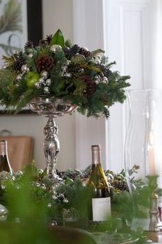 Preppy Empty Nester: Christmas Tablescapes Take 1 Christmas Flowers, Noel Christmas, All Things Christmas, White Christmas, Christmas Lights, Christmas Wreaths, Christmas Decorations, Holiday Decor, Fall Lights