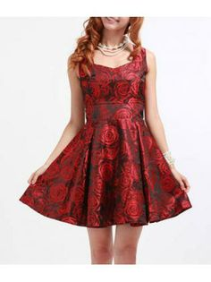 Coquettish Wine Red Rose Print Sleeveless A Line Dress