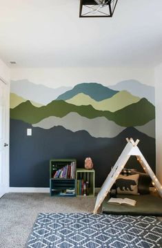 Want to learn how to paint a mountain mural your bedroom? You're going to love this tutorial featuring Behr Paint's 2020 Color Trends and Color of the Year. Cube Storage Shelves, Book Shelves, Playroom Organization, Playroom Ideas, Nursery Ideas, Bedroom Ideas, Toddler Rooms, Boy Toddler, Old Tables