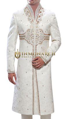 Ultimate Look Brocade Cream Sherwani #ManAmongMen series of #Celebration #Wear from Inmonarch A sharp and sleek #collection.