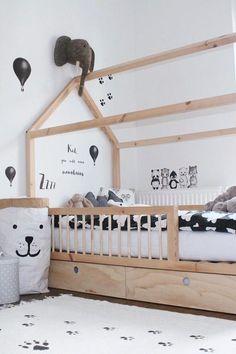 Inspiration from Instagram - Michelle @lykkelitenogmamma -black and white, boys room ideas, grey, black and white boys room, Scandinavian style, monochrome design kids room ideas, bed