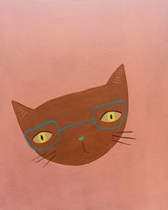 ©️ tammie bennett - cat in glasses - personal project Illustration Art Drawing, Art Drawings, Illustrations, Cat Art, Cute Cats, Art Projects, Disney Characters, Fictional Characters, Doodles