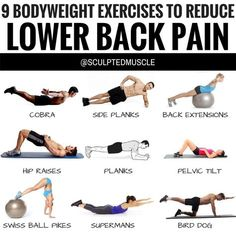 9 BODYWEIGHT EXERCISES TO REDUCE LOWER BACK PAIN! Experiencing lower back (Sciatica) pain is no fun. It can be debilitating both inside and outside of the gym. These 9 low-impact bodyweight exercises will help you build a strong durable lower back. Sciatica Exercises, Sciatica Pain, Abdominal Exercises, Belly Exercises, Sciatic Nerve, Sciatica Symptoms, Chest Exercises, Band Exercises, Drawing Exercises