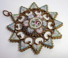antique micromosaic pendant