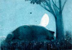 """Noche de lunes, noche de luna.  """"Todos duermen no queda nada entre la luna y yo"""". -Enomoto Seifu-Jo.  LLegó la hora de descansar, pasen una linda noche. Les mando cariñosos abrazos de oso. :)"""